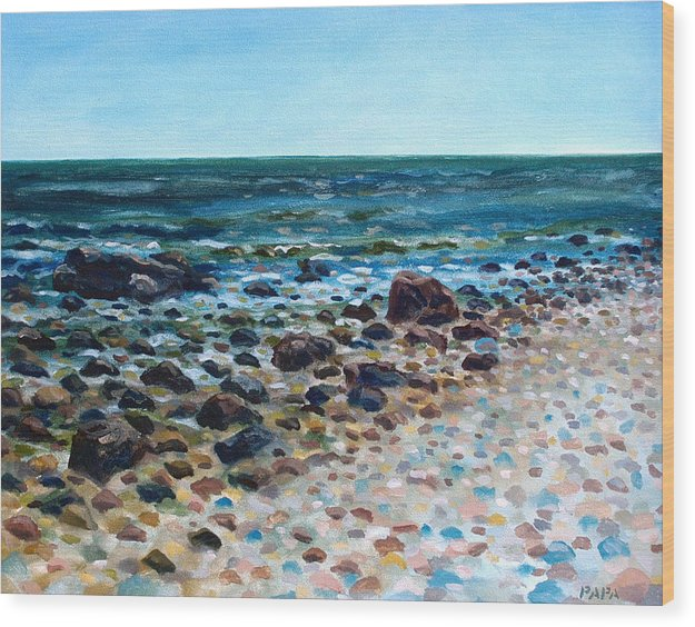 Montauk Point Wood Print featuring the painting Tides Out by Ralph Papa