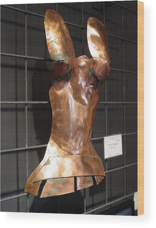 Breastplate Wood Print featuring the sculpture Copper Breast Plate by Steve Mudge