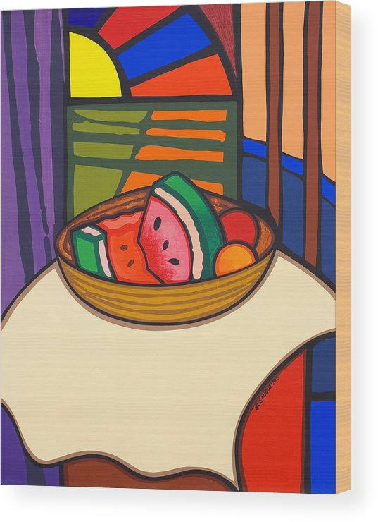 Fruit Wood Print featuring the painting From Matisse Exquisitely Impeccable by Jose Miguel Perez Hernandez