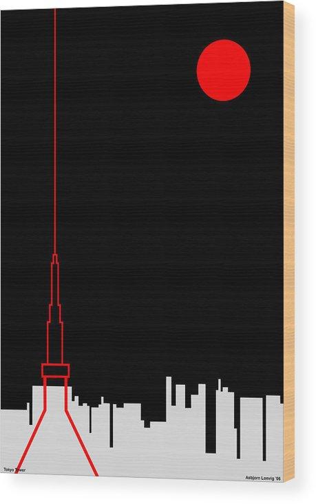 Wood Print featuring the digital art Tokyo Tower by Asbjorn Lonvig