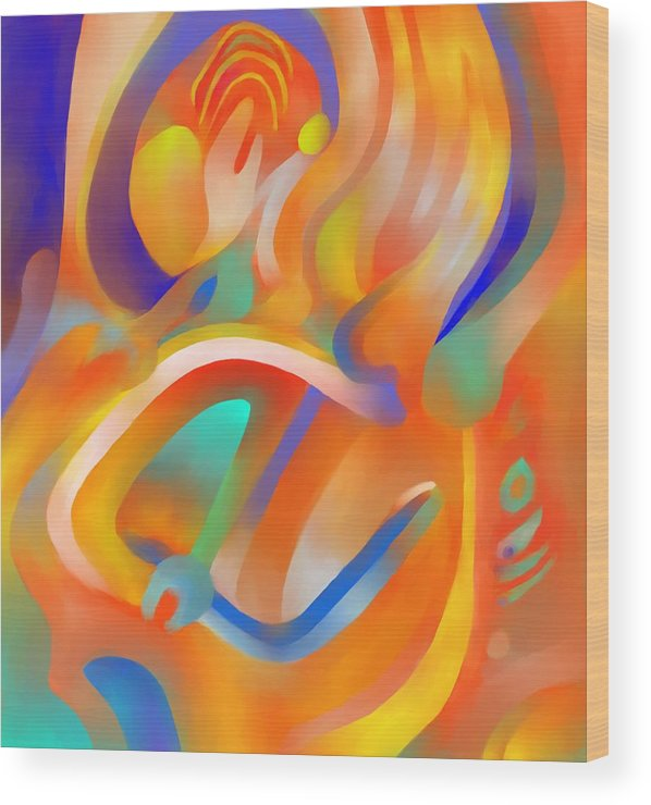 Colorful Wood Print featuring the digital art Musical Enjoyment by Peter Shor