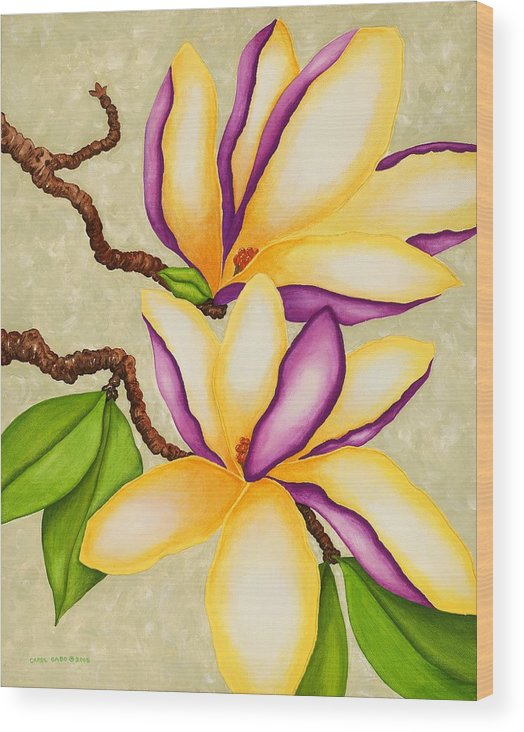 Two Magnolias Wood Print featuring the painting Magnolias by Carol Sabo