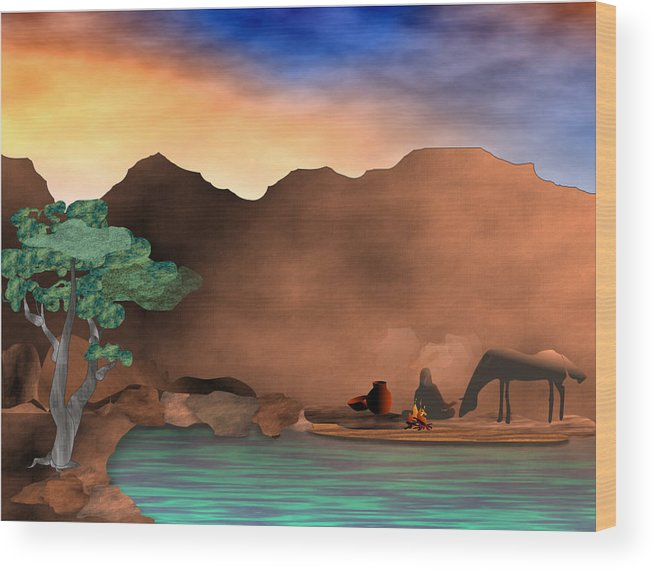 Arizona Wood Print featuring the digital art Arizona Sky by Arline Wagner