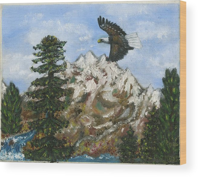 Eagle In Flight To Its Nest With Montana Mountains In Background Wood Print featuring the painting Eagle To Eaglets In Nest by Tanna Lee M Wells