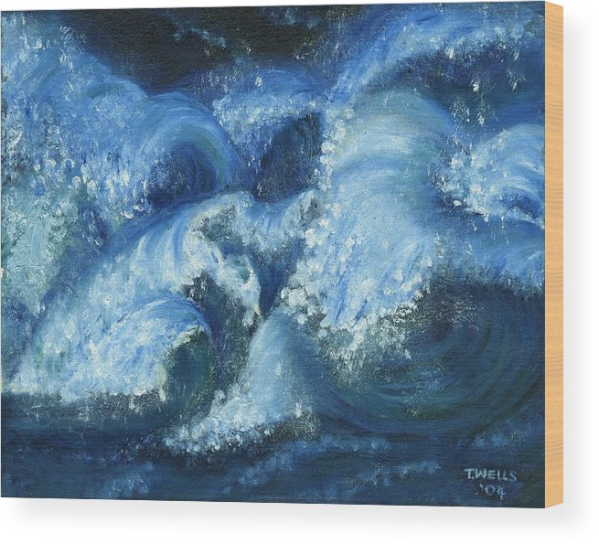 Strong Waves Painted In Blues And Tinges Of Green With Vibrant Color Wood Print featuring the painting Dance Of The Stormy Sea by Tanna Lee M Wells