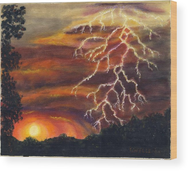 Lightning At Sunset Painted In Vibrant Colors Wood Print featuring the painting Lightning At Sunset by Tanna Lee M Wells