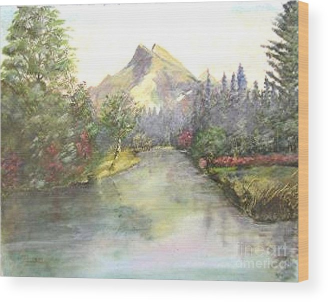 Landscape Painting Wood Print featuring the painting Mt Bundle by Nicholas Minniti