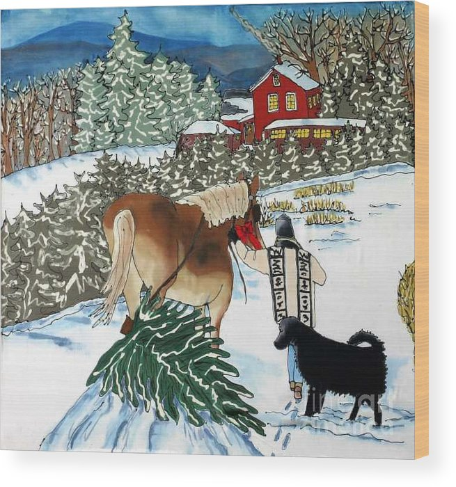 Christmas Wood Print featuring the painting Bringing Home The Tree by Linda Marcille