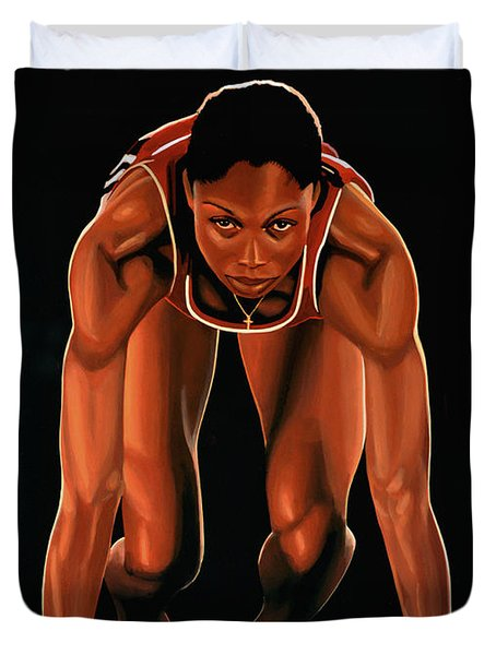 Allyson Felix  Duvet Cover by Paul  Meijering