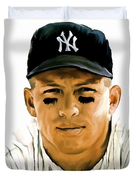 American Icon Mickey Mantle Duvet Cover by Iconic Images Art Gallery David Pucciarelli