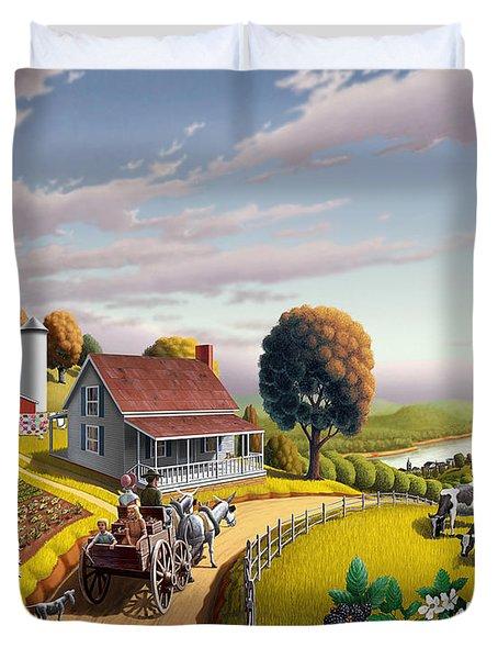 Appalachian Blackberry Patch Rustic Country Farm Folk Art Landscape - Rural Americana - Peaceful Duvet Cover by Walt Curlee