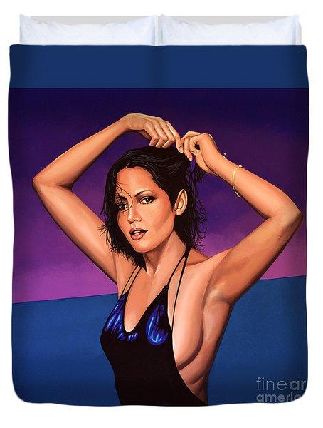Barbara Carrera Painting Duvet Cover by Paul Meijering
