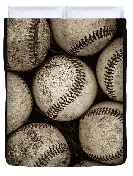 Baseballs Duvet Cover by Diane Diederich
