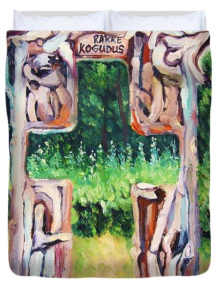 Cross Gate On The Hill Duvet Cover by Misuk Jenkins