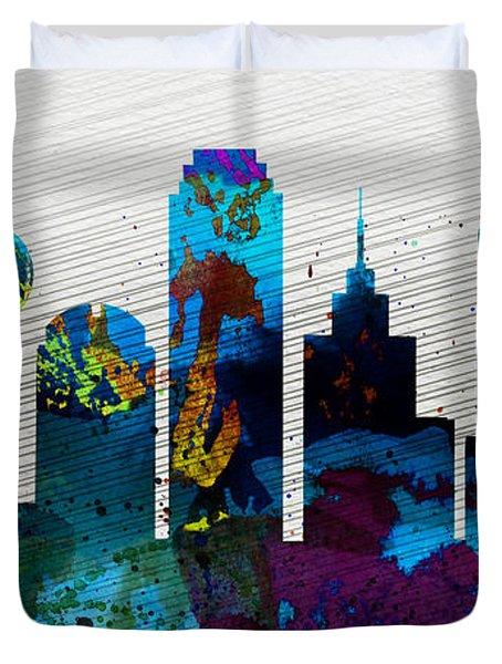 Dallas City Skyline Duvet Cover by Naxart Studio