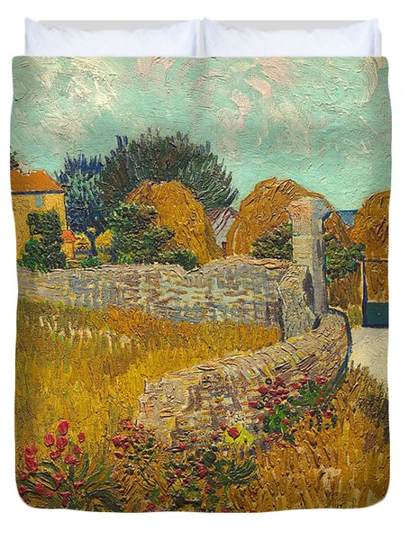 Farmhouse In Provence Duvet Cover by Vincent van Gogh