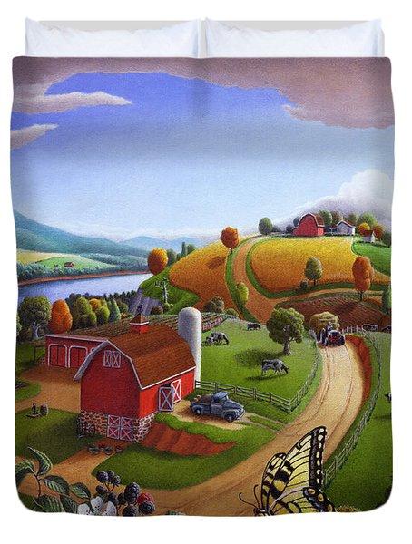 Folk Art Blackberry Patch Rural Country Farm Landscape Painting - Blackberries Rustic Americana Duvet Cover by Walt Curlee