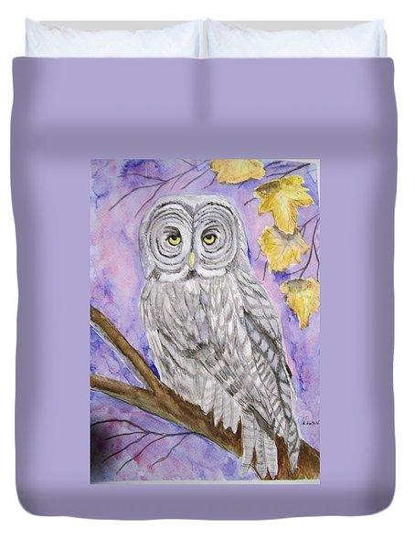 Grey Owl Duvet Cover by Belinda Lawson