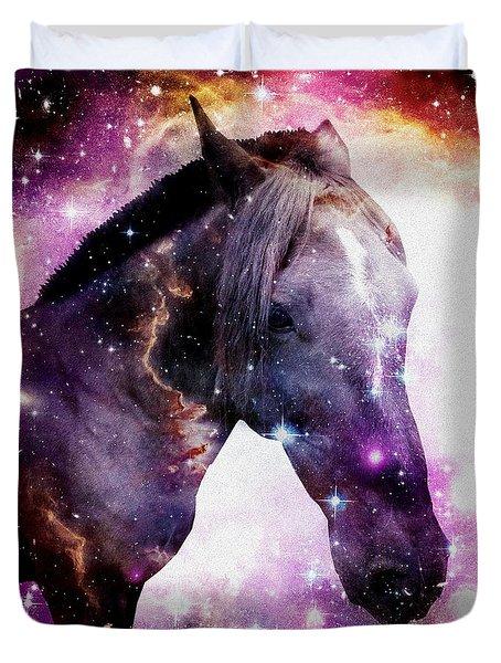 Horse in the Small Magellanic Cloud Duvet Cover by Anastasiya Malakhova