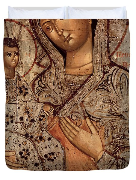 Icon Of The Blessed Virgin With Three Hands Duvet Cover by Novgorod School