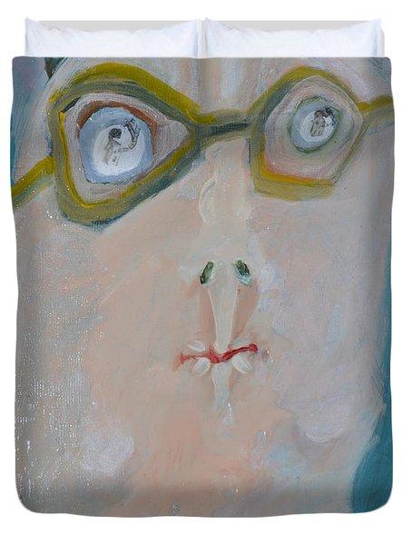 John's Dad Seeing Babies Born Duvet Cover by Nancy Mauerman