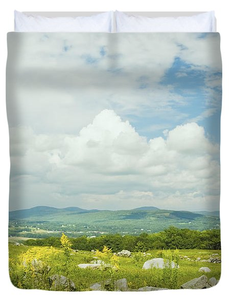 Large Blueberry Field With Mountains And Blue Sky In Maine Duvet Cover by Keith Webber Jr