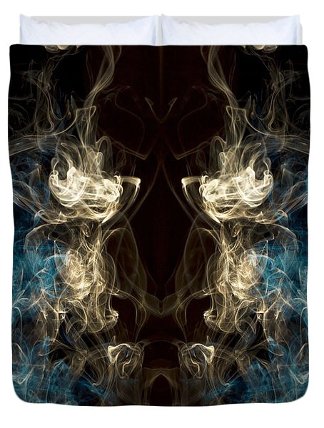 Minotaur Smoke Abstract Duvet Cover by Edward Fielding