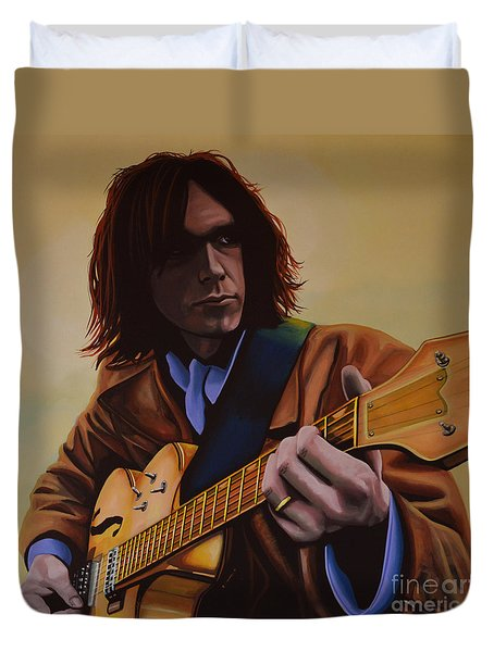 Neil Young Painting Duvet Cover by Paul Meijering