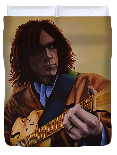 Neil Young  Duvet Cover by Paul  Meijering