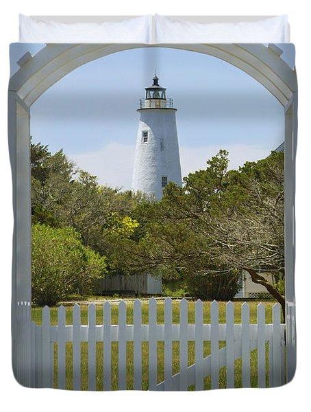 Ocracoke Island Lighthouse Duvet Cover by Mike McGlothlen
