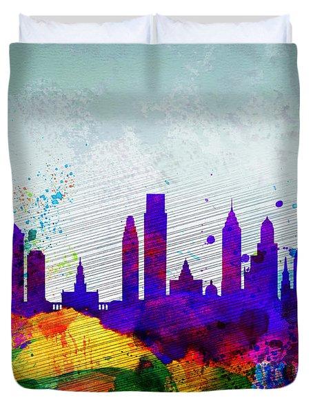 Philadelphia Watercolor Skyline Duvet Cover by Naxart Studio