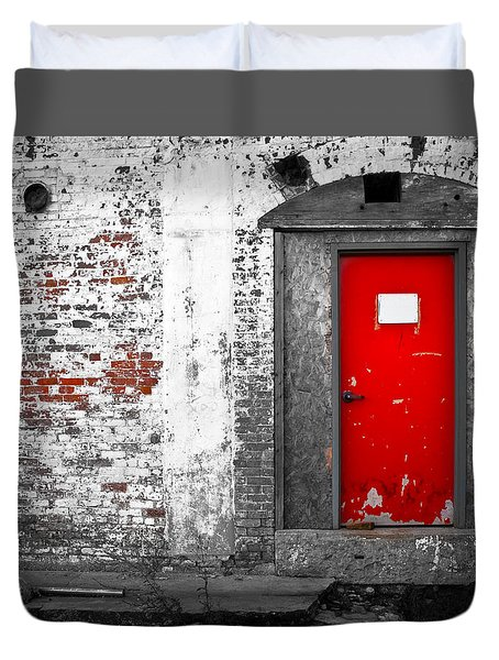 Red Door Perception Duvet Cover by Bob Orsillo