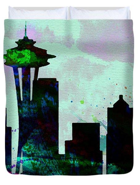 Seattle City Skyline Duvet Cover by Naxart Studio
