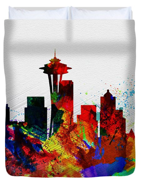 Seattle Watercolor Skyline 2 Duvet Cover by Naxart Studio