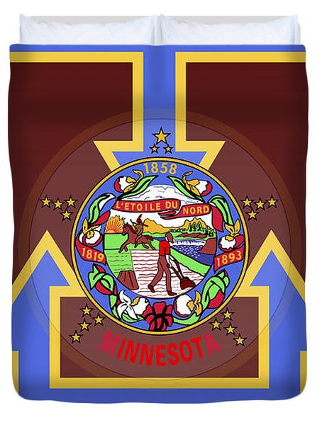 U Of M Minnesota State Flag Duvet Cover by Daniel Hagerman