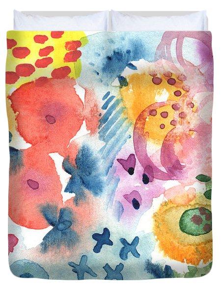 Watercolor Garden Duvet Cover by Linda Woods