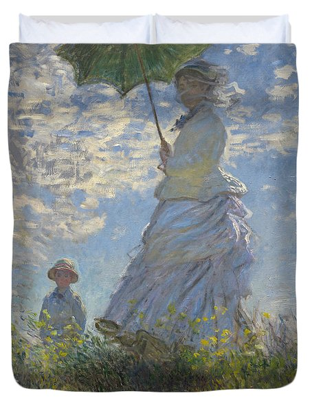 Woman With A Parasol Madame Monet And Her Son Duvet Cover by Claude Monet