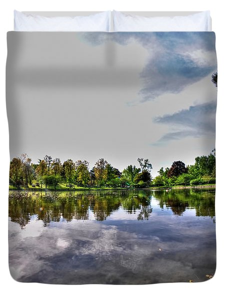 002 Reflecting At Forest Lawn Duvet Cover by Michael Frank Jr