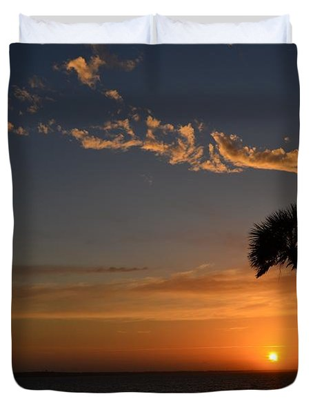 0502 Palms With Sunrise Colors On Santa Rosa Sound Duvet Cover by Jeff at JSJ Photography