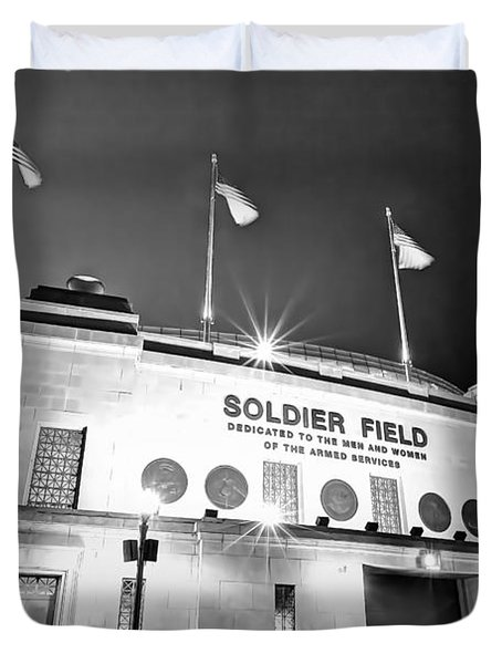 0879 Soldier Field Black And White Duvet Cover by Steve Sturgill