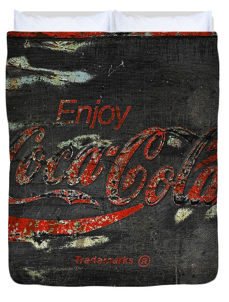 Coca Cola Sign Grungy Duvet Cover by John Stephens