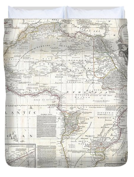 1794 Boulton And Anville Wall Map Of Africa Duvet Cover by Paul Fearn