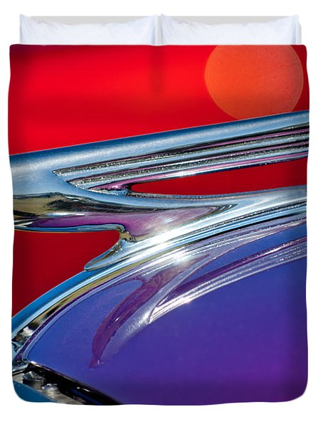 1937 Chevrolet Hood Ornament Duvet Cover by Jill Reger