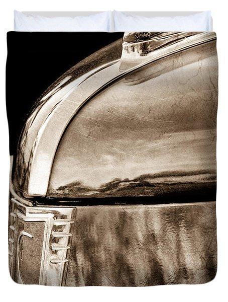 1939 Studebaker Commander Hood Ornament Duvet Cover by Jill Reger