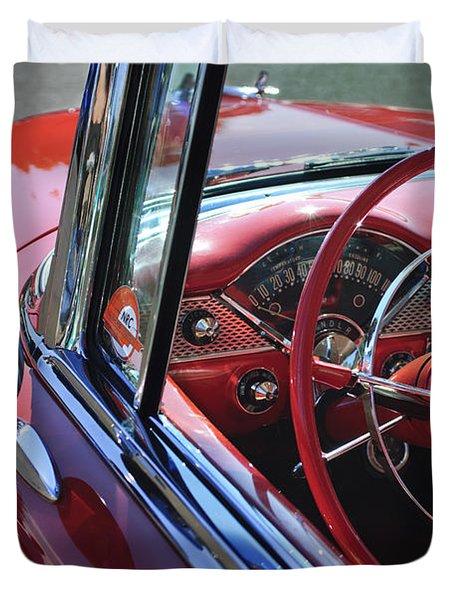 1955 Chevrolet Belair Steering Wheel Duvet Cover by Jill Reger