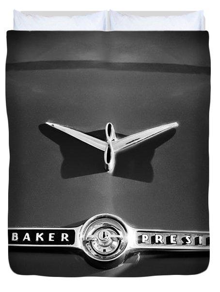1955 Studebaker President Emblem Duvet Cover by Jill Reger