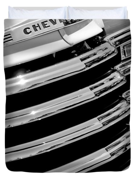 1956 Chevrolet 3100 Pickup Truck Grille Emblem Duvet Cover by Jill Reger