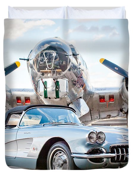 1960 Chevrolet Corvette Duvet Cover by Jill Reger