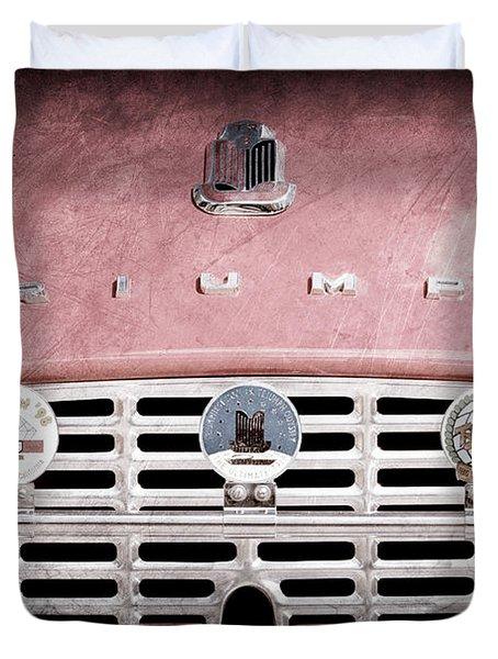 1960 Triumph Tr3 Grille Emblems Duvet Cover by Jill Reger