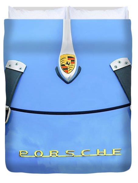 1960 Volkswagen VW Porsche 356 Carrera GS-GT Replica Hood Ornament Duvet Cover by Jill Reger